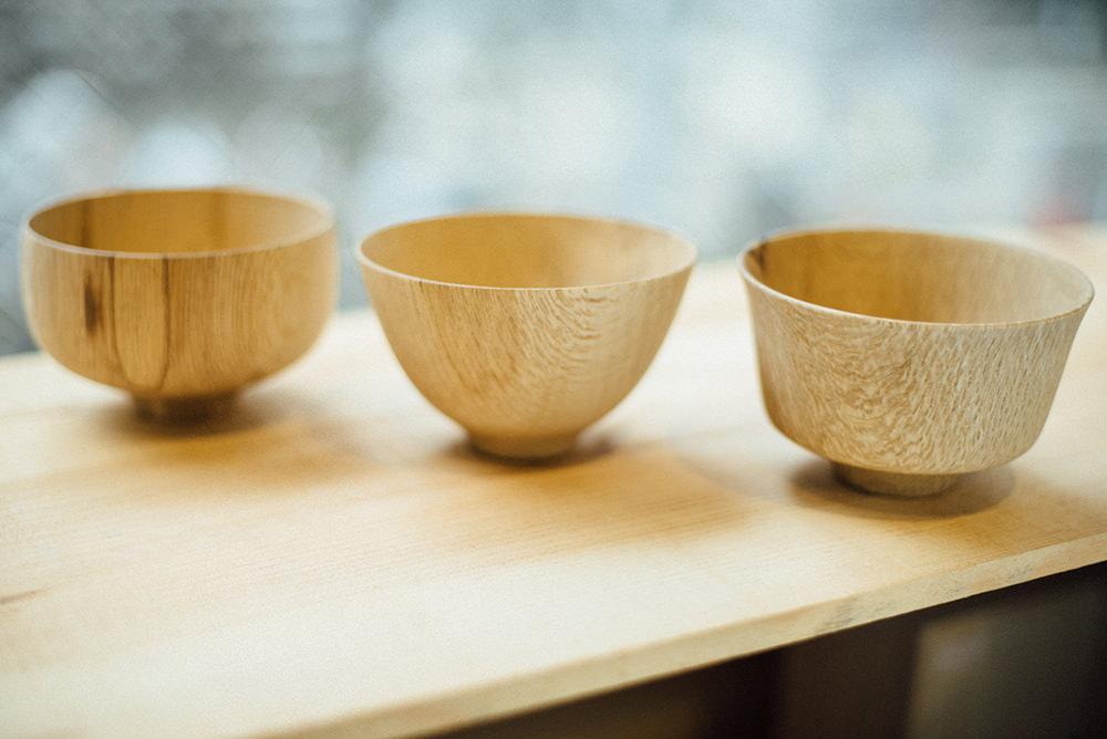 喜八工房の「樫椀」。左からG型、U型、Y型。各3780円。