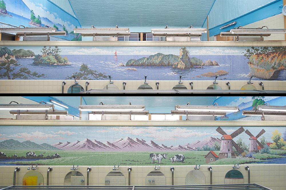桜湯の内部、タイル絵
